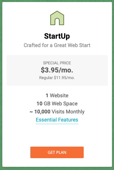 Siteground basic hosting plan